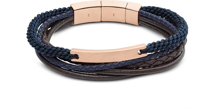 Vintage Casual Rose Gold Tone Steel Multi Strand Men's Bracelet - Fossil