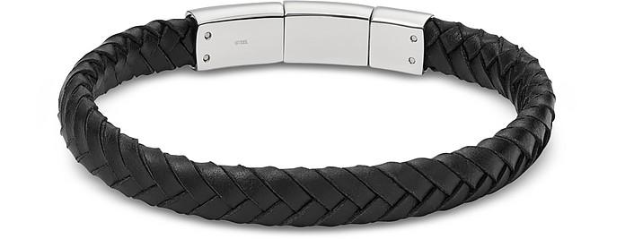 Vintage Casual Black Braided Men's Bracelet - Fossil