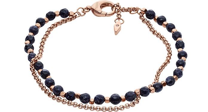 Shimmer Glass Stone Double Chain Women's Bracelet - Fossil