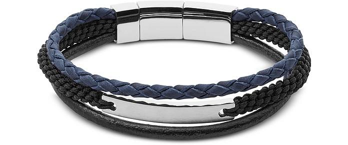 Blue and Black Vintage Casual Multi Strand Men's Bracelet - Fossil