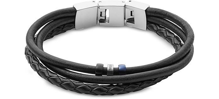 Black Vintage Casual Multi-Strand Men's Bracelet - Fossil