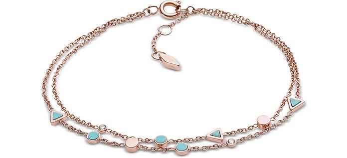 Women's Turquoise Double Chain Bracelet - Fossil