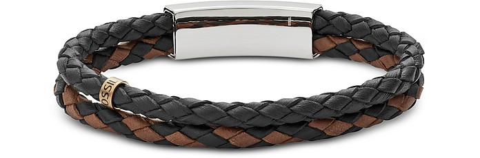 Men's Vintage Casual Multi-Strand Leather Bracelet - Fossil