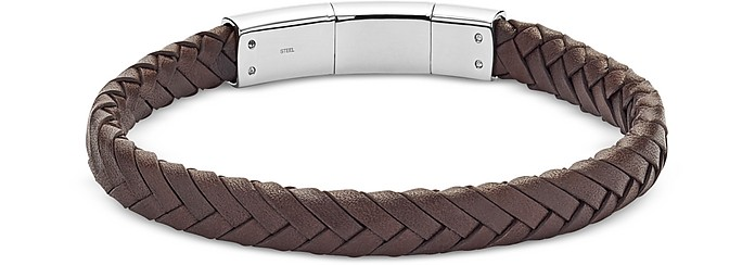 Men's Brown Vintage Casual Braided Leather Bracelet - Fossil