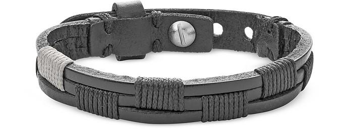 Men's Vintage Casual Black Leather Bracelet - Fossil