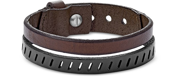 Vintage Casual Brown Leather Double Bracelet - Fossil