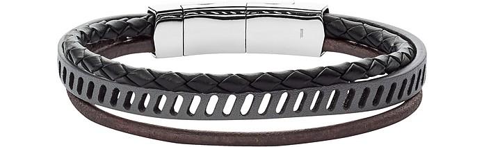 Vintage Casual Multi-Strand Black Leather Bracelet - Fossil