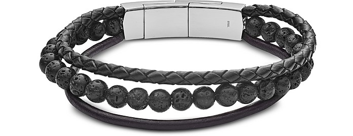 Vintage Casual Multi-Strand Leather and Lava Beads Men's Bracelet - Fossil