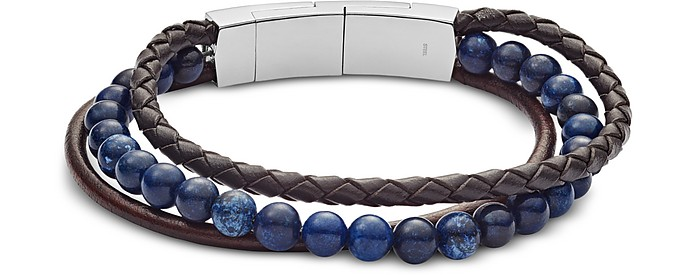 Men's Vintage Casual Multi-Strand Leather and Blue Sodalite Bead Bracelet - Fossil