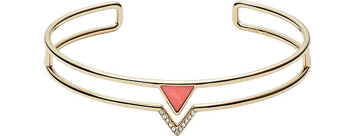 Women's Triangle Coral Semi-Precious Double Wire Bangle - Fossil