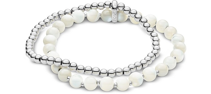 Classics Stainless Steel and White Beads Women's Bracelet - Fossil