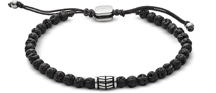 Men's Black Lava Stone Bracelet - Fossil
