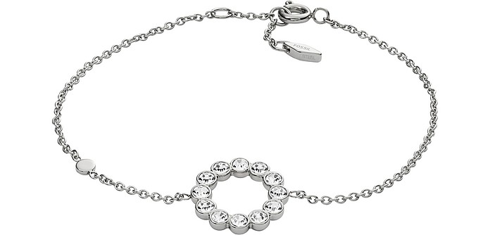 Silver Tone Vintage Glitz Bezel Women's Bracelet - Fossil