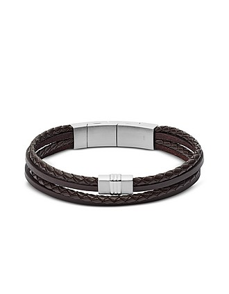 f7bba7ec4ee Brown Multi Strand Braided Leather Men's Bracelet - Fossil