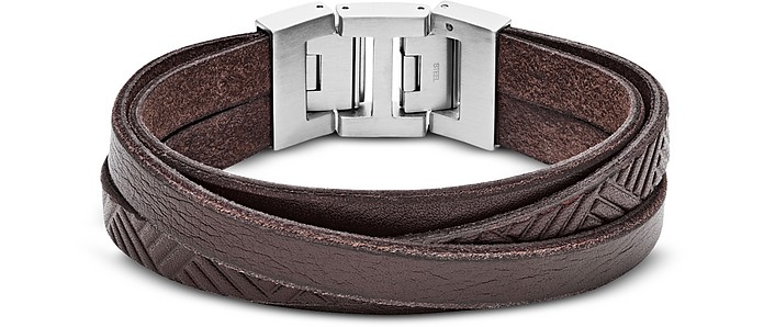 Textured Wrap Men's Bracelet - Fossil