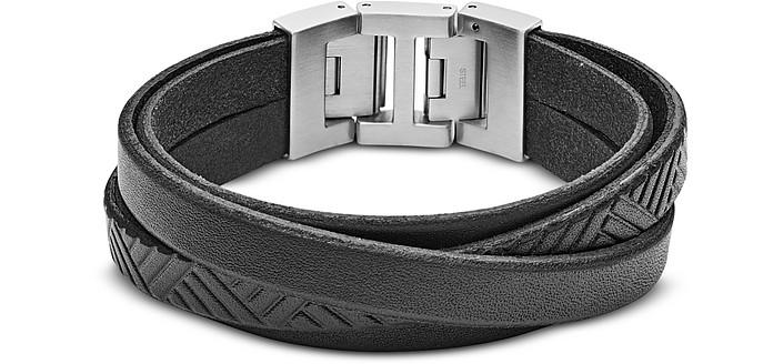 Black Textured Wrap Men's Bracelet - Fossil