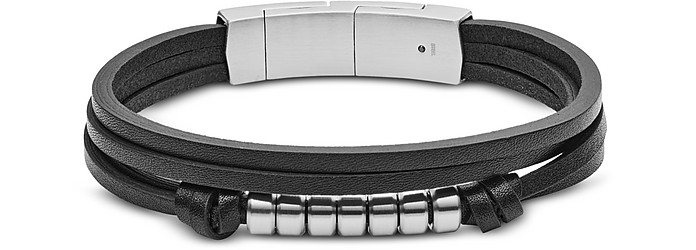 Multi Strand Black Leather Men's Bracelet - Fossil / フォッシル