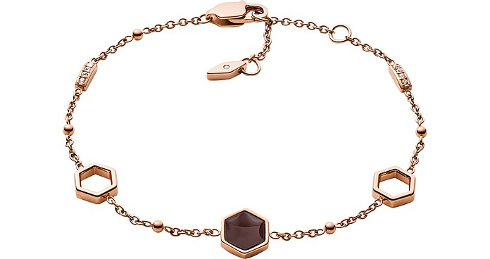 Geometric Rose Gold Tone Bracelet - Fossil