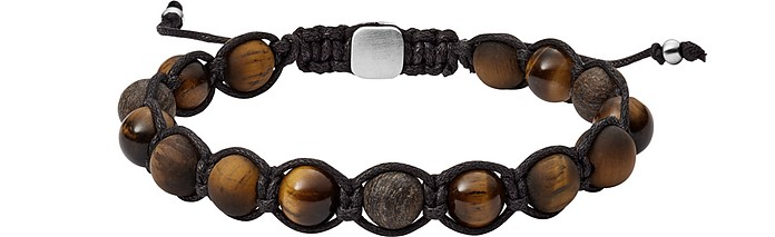 Tigers Eye and Bronzite Beaded Bracelet - Fossil