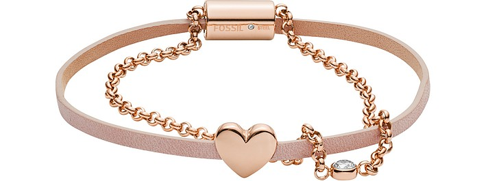 Duo Heart Rose Tone Stainless Steel Bracelet - Fossil
