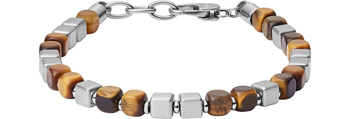 Square Tiger's Eye and Stainless Steel Bracelet - Fossil