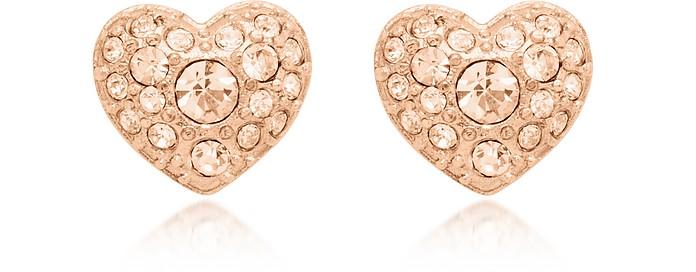 Glitz Heart Rose Gold Tone Women's Earrings - Fossil