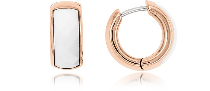 White Huggie Hoops Rose Gold Tone Women's Earring - Fossil