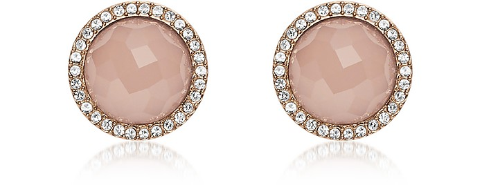 Pink Stone Rose Gold Tone Stud Women's Earrings - Fossil