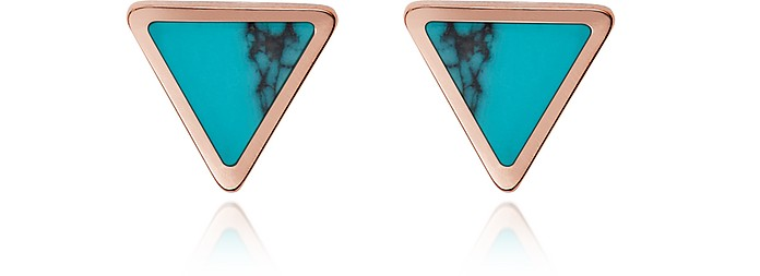 Turquoise Triangle Studs Earrings - Fossil