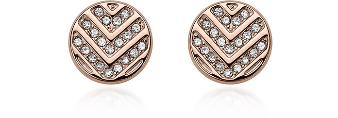 Chevron Glitz Rose Gold Tone Stud Earrings - Fossil
