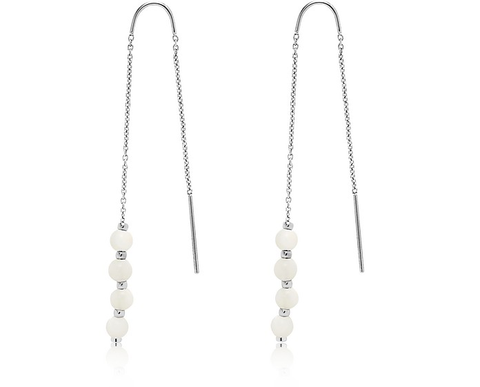 Mother of Pearl Steel Pull-Through Earrings - Fossil