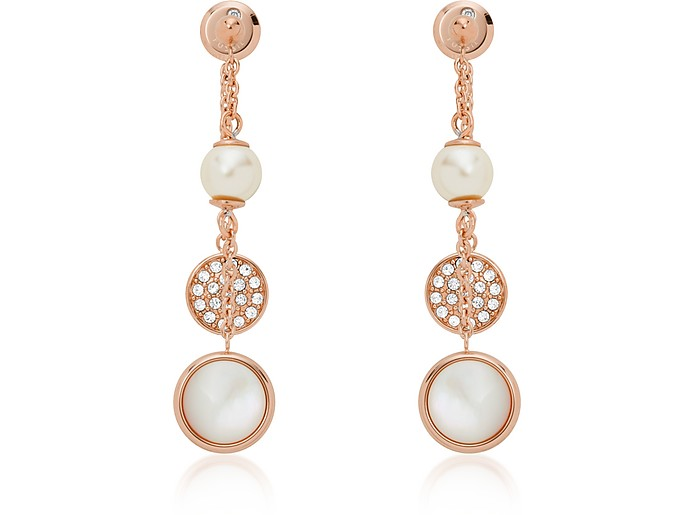 Layered Mother of Pearl Drop Earrings - Fossil