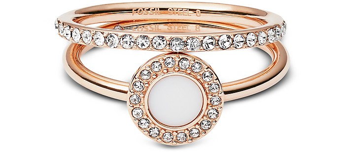 Rose-Goldtone Stone Glitz Stackable Women's Ring w/Strass and Glass Stone - Fossil