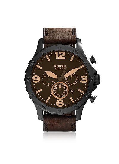 Nate Chronograph Brown Leather Watch - Fossil