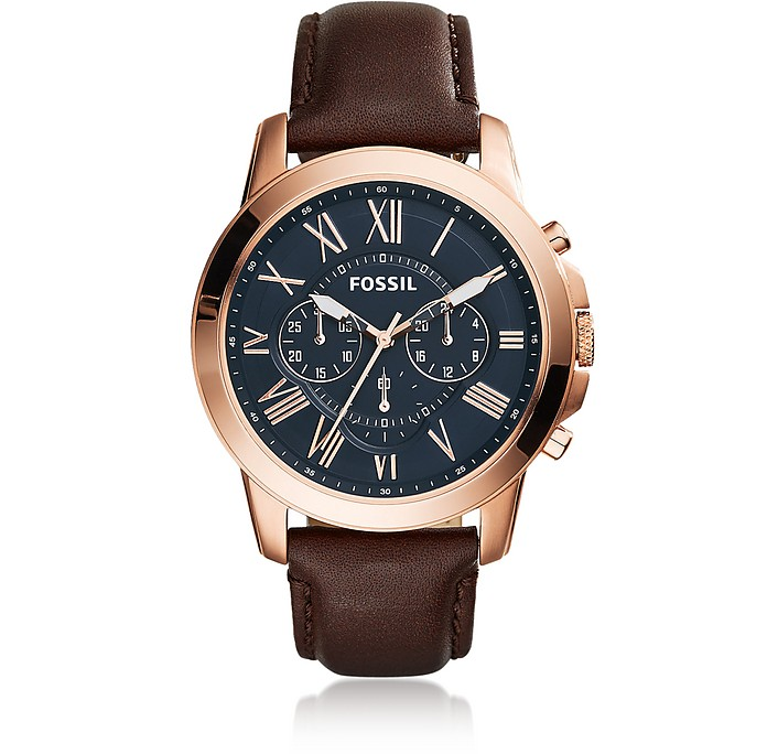 Grant Chronograph Brown Leather Men's Watch - Fossil