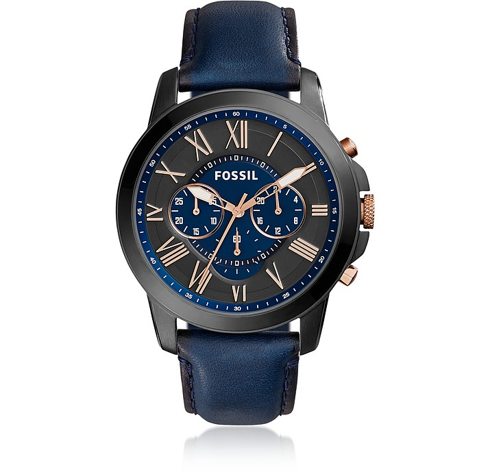 Grant Chronograph Navy Leather Men's Watch - Fossil