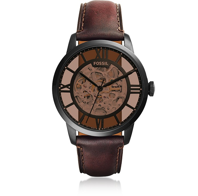 Townsman Automatic Dark Brown Leather Men's Watch - Fossil