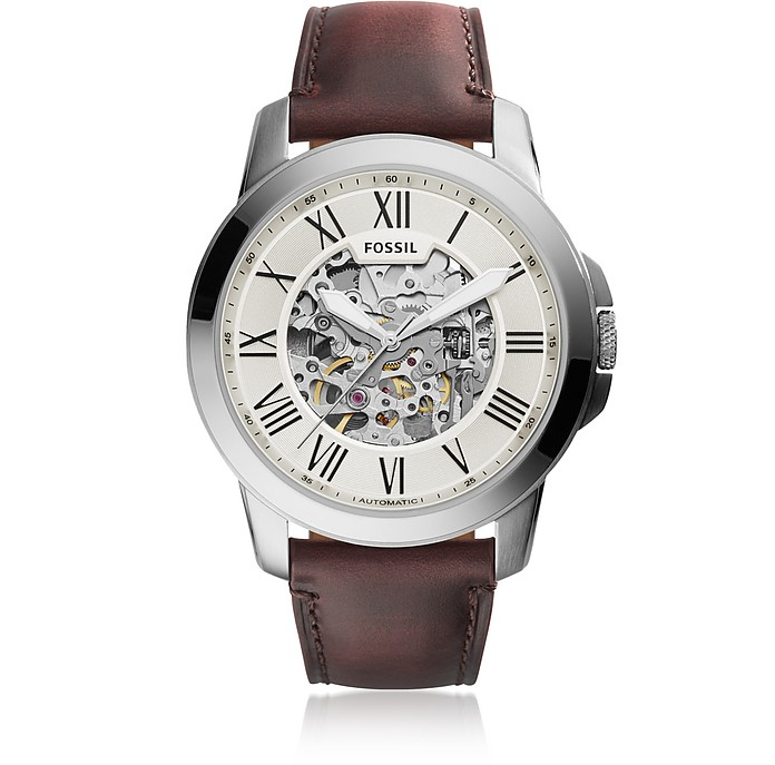 Grant Automatic Dark Brown Leather Men's Watch - Fossil
