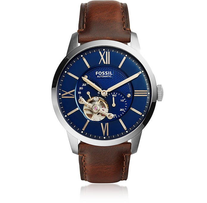 Townsman Automatic Brown Leather and Blue Dial Men's Watch - Fossil