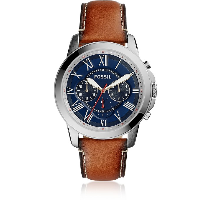 Grant Chronograph Light Brown Leather and Blue Dial Men's Watch - Fossil