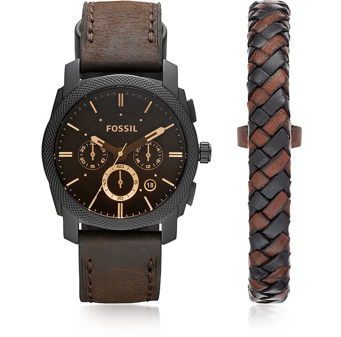 Machine Chronograph Dark Brown Leather Men's Watch and Bracelet Box Set - Fossil