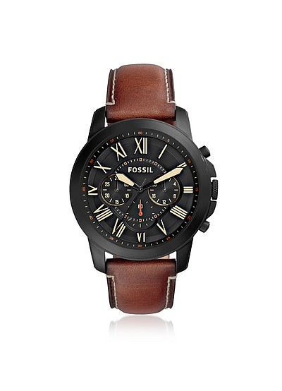 Grant Chronograph Luggage Leather Men's Watch - Fossil