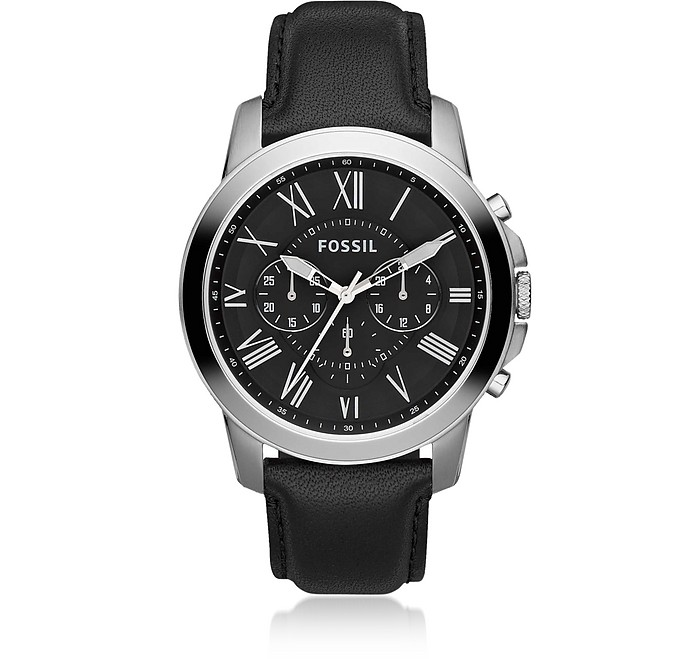 Grant Chronograph Black Leather Men's Watch - Fossil