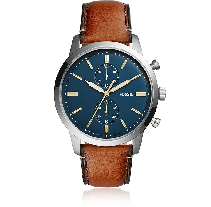 Townsman 44mm Chronograph Luggage Leather Men's Watch - Fossil