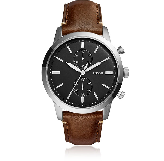 Townsman 44mm Chronograph Brown Leather and Black Dial Men's Watch - Fossil