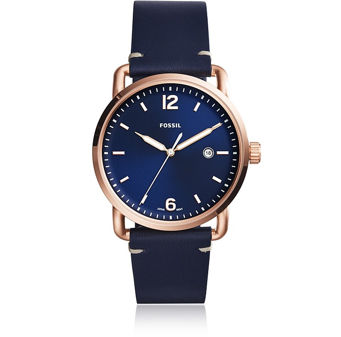The Commuter Three-Hand Date Blue Leather Men's Watch - Fossil