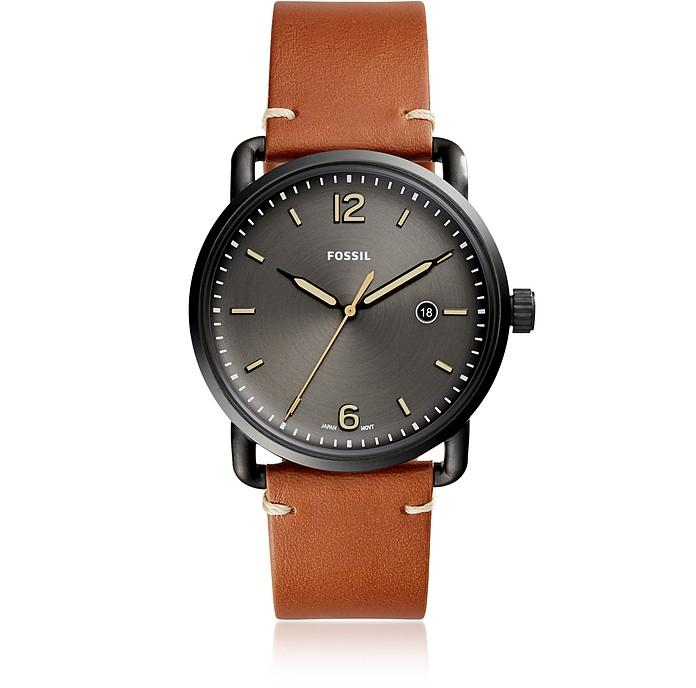 The Commuter Three-Hand Date Luggage Leather Men's Watch - Fossil