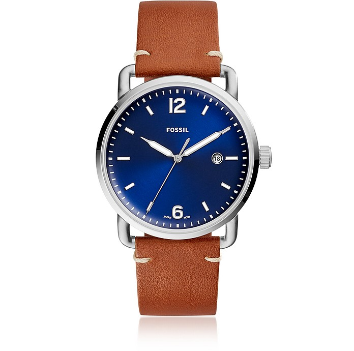 The Commuter Three-Hand Date Luggage Leather and Blue Dial Men's Watch - Fossil