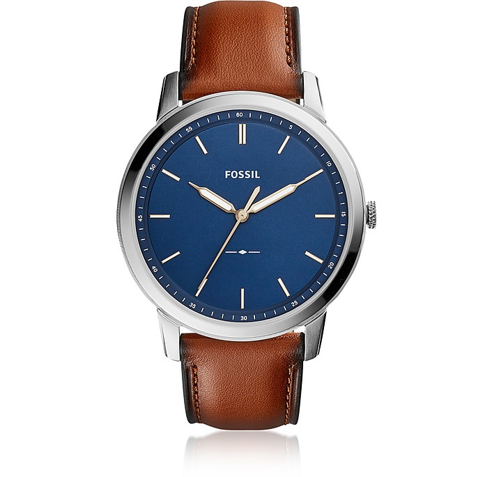 The Minimalist Slim Three-Hand Light Brown Leather and Blue Dial Men's Watch - Fossil