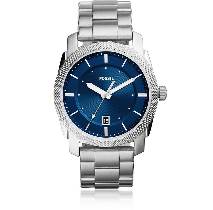 Machine Three-Hand Date Stainless Steel Men's Watch - Fossil